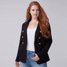 Fashionable Plus Size Work Retro Button Black Blazer