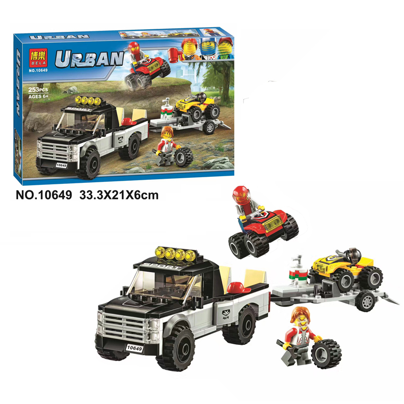 2017 Bela 10649 253Pcs City Figures Vehicles ATV Race Team Model Building Kits Blocks Bricks Toys For Children Compatible 60148 lego city great vehicles буксировщик автомобилей 60081