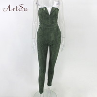 ArtSu Sexy Strapless Suede Long Jumpsuit Romper Women Slim Spring Winter Playsuit Autumn Party Solid Overalls ASJU30287