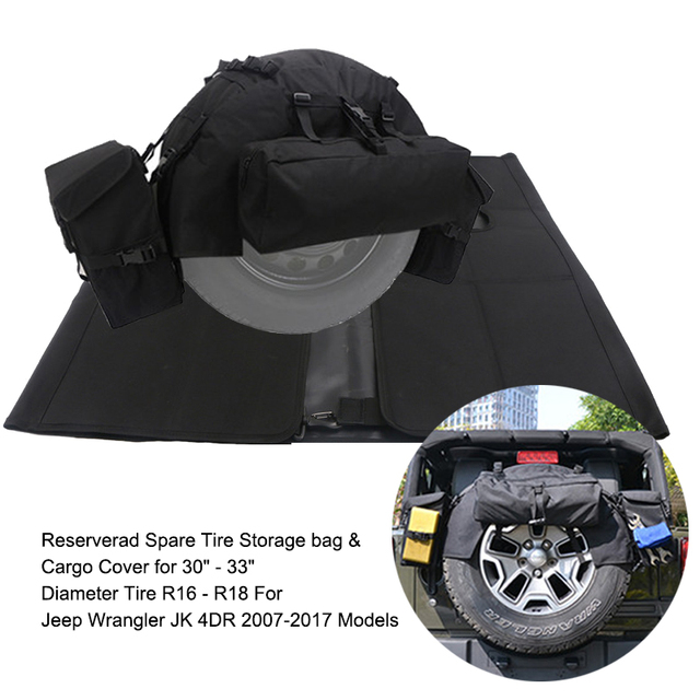 78c94f427ffa US $48.5 |Car Spare Tire Storage Box Bag Sports Sahara Organizers Cargo Bag  Holder Saddlebag Pocket For Jeep Wrangler JK 4DR 2007 2017-in Nets from ...