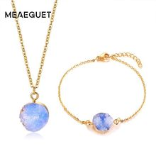 Stainless Steel Women Bracelet Necklace Green Blue Stone Gold Color Irregular Charm Party Jewelry Sets(China)