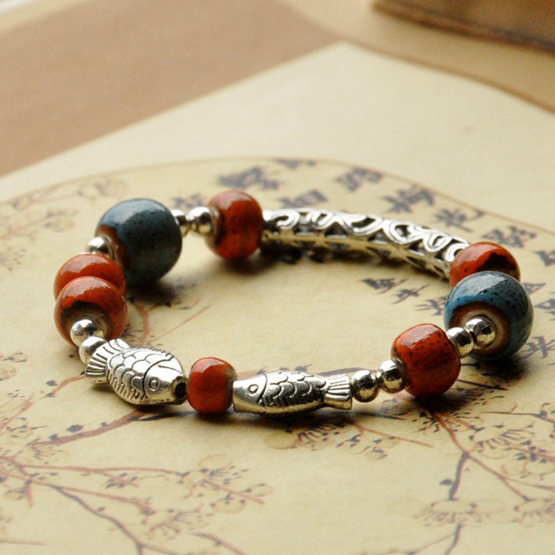 Ceramic Beads Double Fish Charm Bracelet For Women Vintage Hollow Flower Circle Silver Color Beaded Lucky Bracelets Men Jewelry