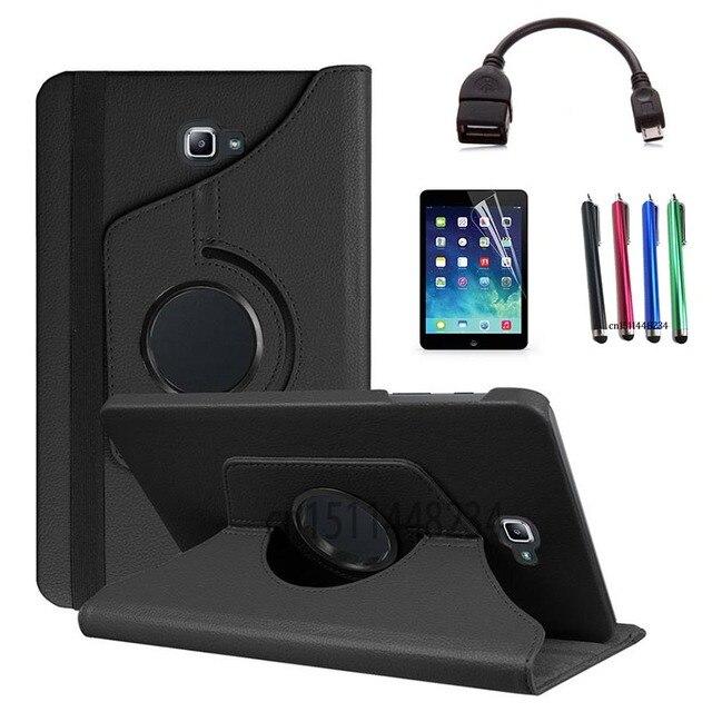 Stylus + protector de pantalla + OTG cable de datos + caso para Samsung Galaxy Tab A A6 10,1 2016 SM-T580 T580N t585 T585C Funda de cuero PU para tableta