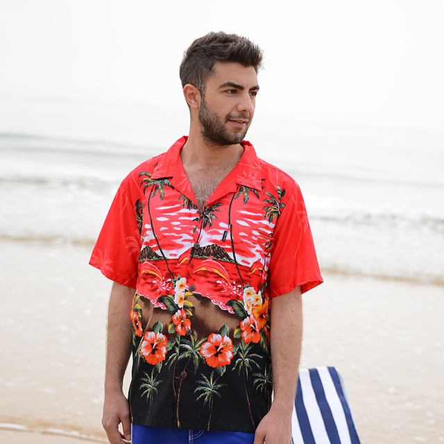 263d153c1e9 2018 Summer Travel Holiday Men Short Sleeves Floral Printed Shirts Cotton  Plus Size Loose Casual Shirts