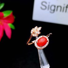 shilovem 925 sterling silver Natural red coral rings fine Jewelry  women trendy open 5*7mm party plant new gift lj050703agsh
