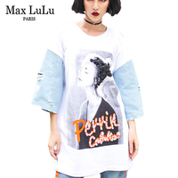 Max LuLu Luxury Japan Harajuku Girls Punk Streetwear Cotton Womens Denim Patchwork T shirt Kawaii Tee Shirts Woman Summer Tshirt
