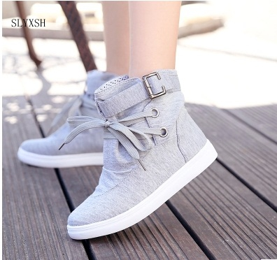 цены SLYXSH New Autumn Women Boots black Canvas Shoes Woman Flats Solid Ankle Boots Black and Grey Platform Shoes Woman Size 35-40