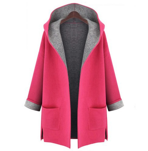 2018 Loose Slimming Solid Long Sleeve Casual Coat Pocket Hooded Woollen Large Size Wide-waisted Open Stitch Woman Wear Trench 1