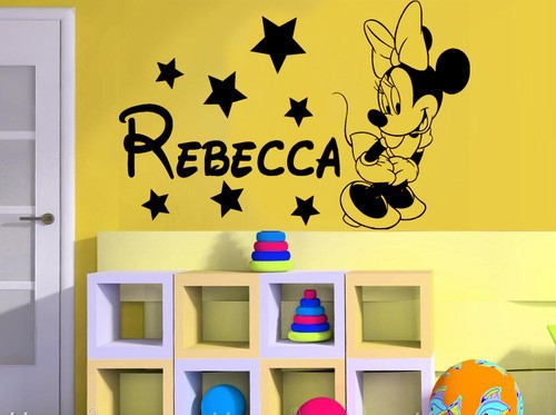Minnie Mouse Personalised Girls Custom Name Bedroom Wall Sticker Kit ...