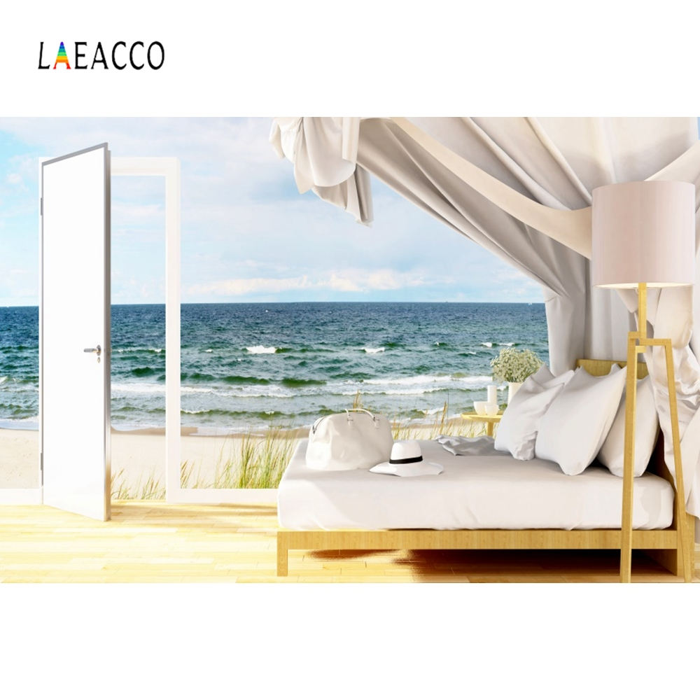 Laeacco Summer Holiday Backdrop Seaside Beach Sofa Portrait Photography Background Photographic For Photo Studio