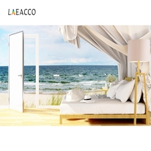 Laeacco Summer Holiday Backdrop Seaside Beach Sofa Portrait Photography Background Photographic For Photo Studio