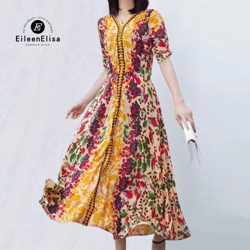 2019 Casual Dress Women Fashion High Waist A Line Long Dress Silk Floral Print Party Dress