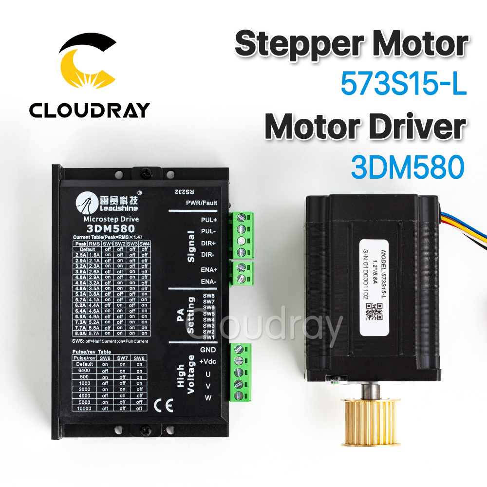 Cloudray Leadshine 3 Phase Stepper Motor 573S15-L+ Stepper Driver 3DM580 for CO2 Laser Engraving Cutting Machine cloudray stepper motor driver 2 leadshine phase dc motor driver controller for 20 50 vdc 1 0 4 2a cnc router kits drive dm542