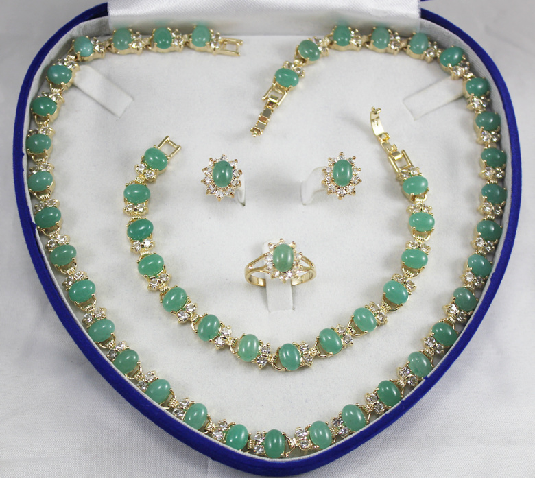 hot sell new generious lady's green zircon necklace, earings, bracelet and ring(7 9#) jewelry sets for wedding and party