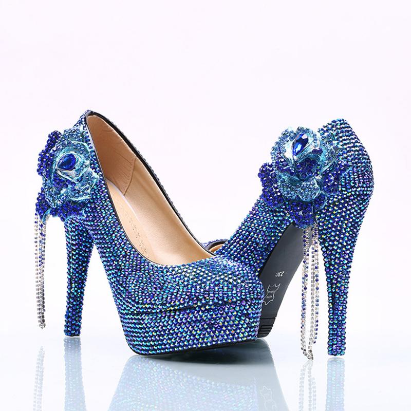 ab9419c2ff Lindo Casamento De Cristal Sapatos De Salto Alto Azul AB Flor Strass ...