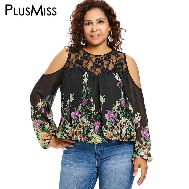 83a6059d27f PlusMiss Plus Size 5XL XXXXL XXXL Floral Flower Print Lace Chiffon Blouse  Women Sexy Sheer Mesh