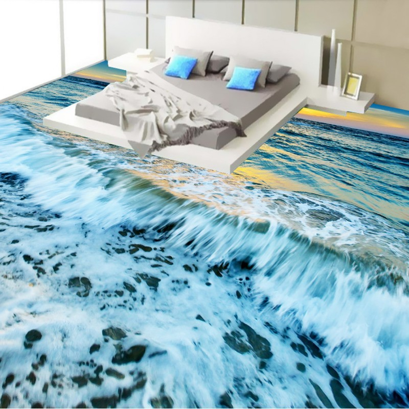 Free Shipping Beautiful view of the ocean floor 3D bedroom living room hotel restaurant flooring wallpaper