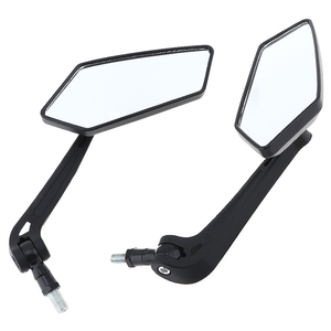 Image 4 - 2Pcs/lot  Motorcycle Black Mirror Scooter E Bike Rearview Mirrors Electrombile Back Side Convex Mirror 10mm Carbon Fiber