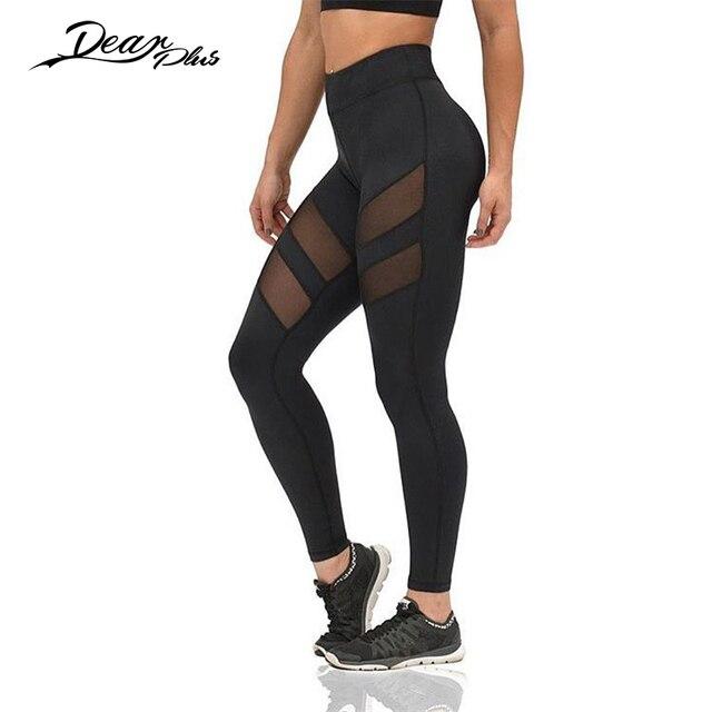 Fitness Leggings Women Mesh Patchwork Transparent Sexy Leggings Black Mid Waist Slim Casual Pencil Pants Skinny Leggings