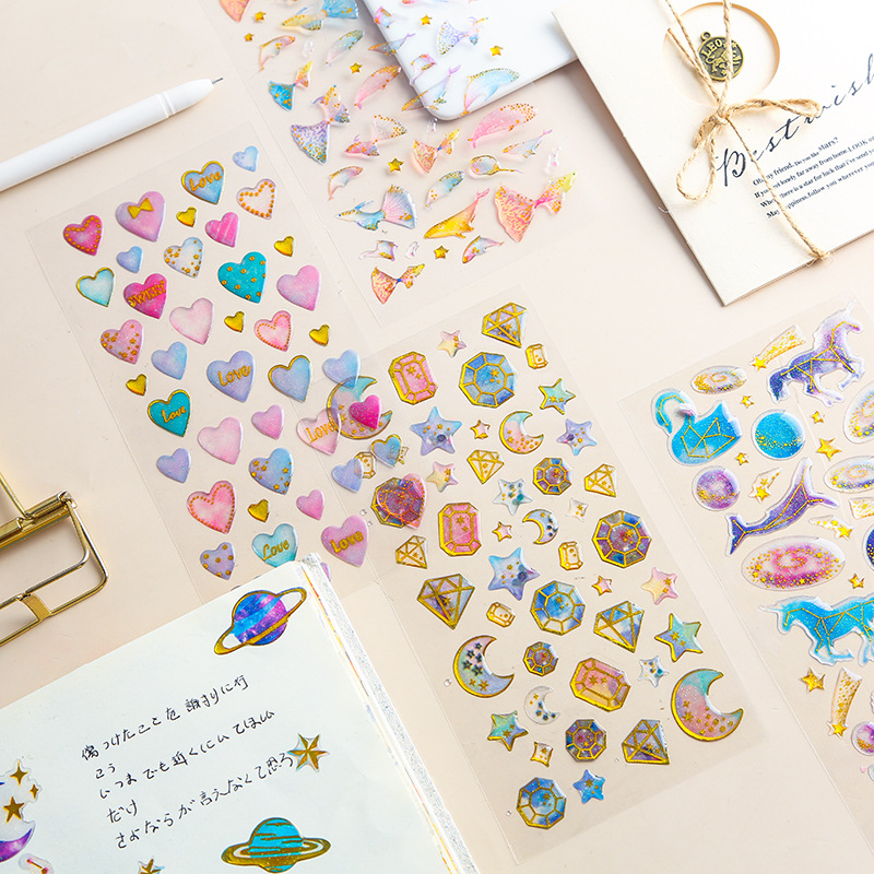 Kawaii dream cartoon cat crystal Stickers Adhesive DIY Decoration 3D transparent Stickers photo deco