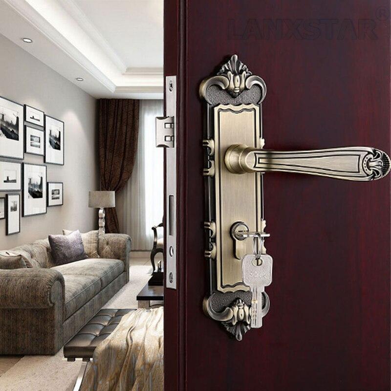 ФОТО Retro Exquisite Handle Lock Bearing Mute Lockset Zinc Alloy Copper Lockcore Quality Commitment Indoor Room Door Locks