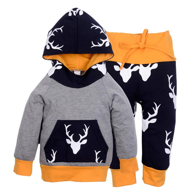 2pcs Christmas Kids Baby Custome Set Girls Boys Autumn Winter Clothes Long Sleeve Reindeer Hooded Sweatshirt Tops +Pants Outfits cotton baby rompers set newborn clothes baby clothing boys girls cartoon jumpsuits long sleeve overalls coveralls autumn winter