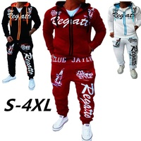2018 New Men' Fashion 2 Parts Hooded Sweatshirt and Pants Set S 4XL