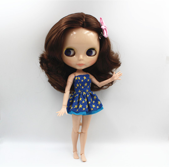 Blygirl Blyth doll Nude doll brown hair short hair 30cm joint body 19 joint DIY doll can change makeup toys giftBlygirl Blyth doll Nude doll brown hair short hair 30cm joint body 19 joint DIY doll can change makeup toys gift