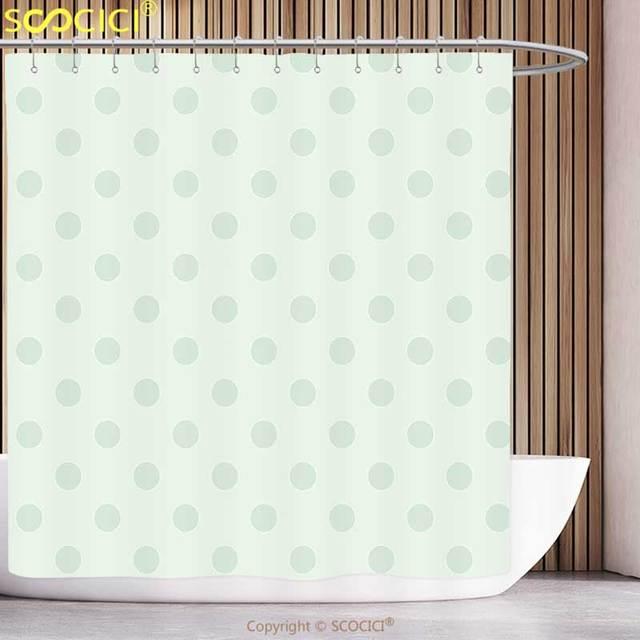 Unique Shower Curtain Mint Retro Polka Dots Pattern Old Fashion Classic Spots Cute Circles Nostalgic Artwork