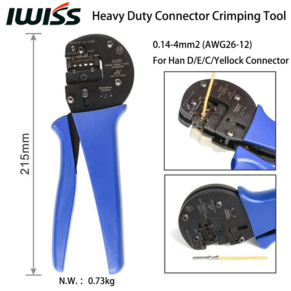 IWISS Hand Crimping Plier Tools A0540HX Crimper for 0 14mm2 4 0mm2 AWG26 12 Harting Han