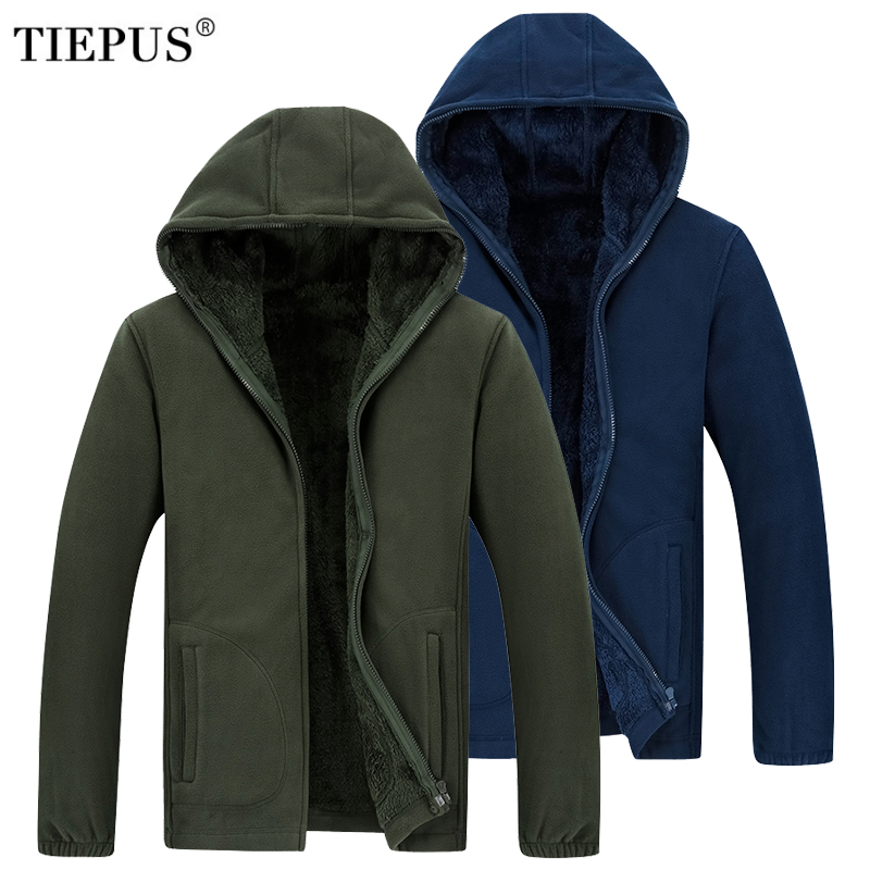TIEPUS Men Hooded Casual Wool Winter Thickened Warm Coat Male Velvet Male Sweatshirts Coat Zipper Cardigan Hoody Man Clothing