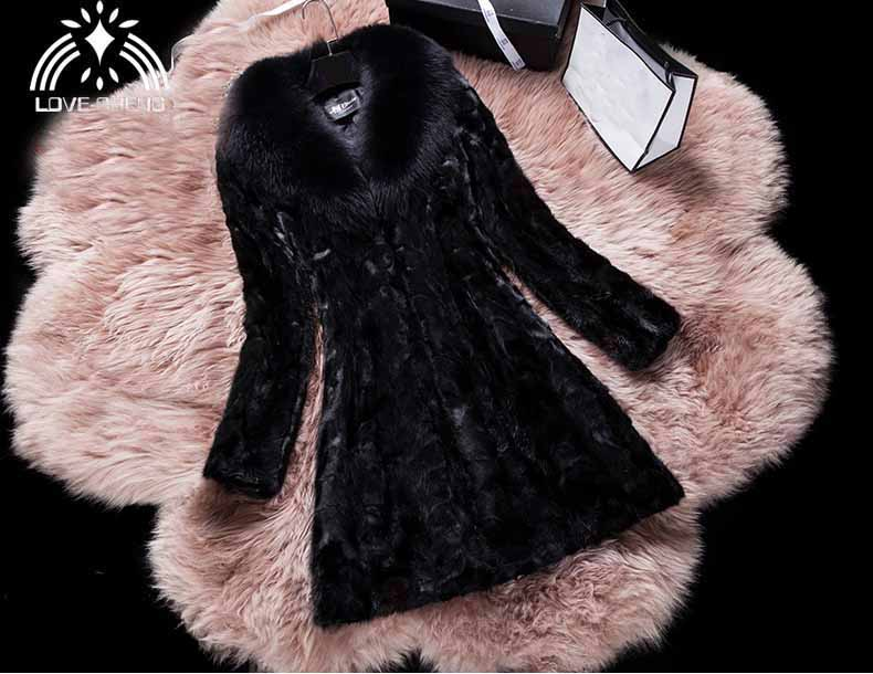 Genuine natural real mink fur coat with big fox fur collar women fashion warm winter jacket