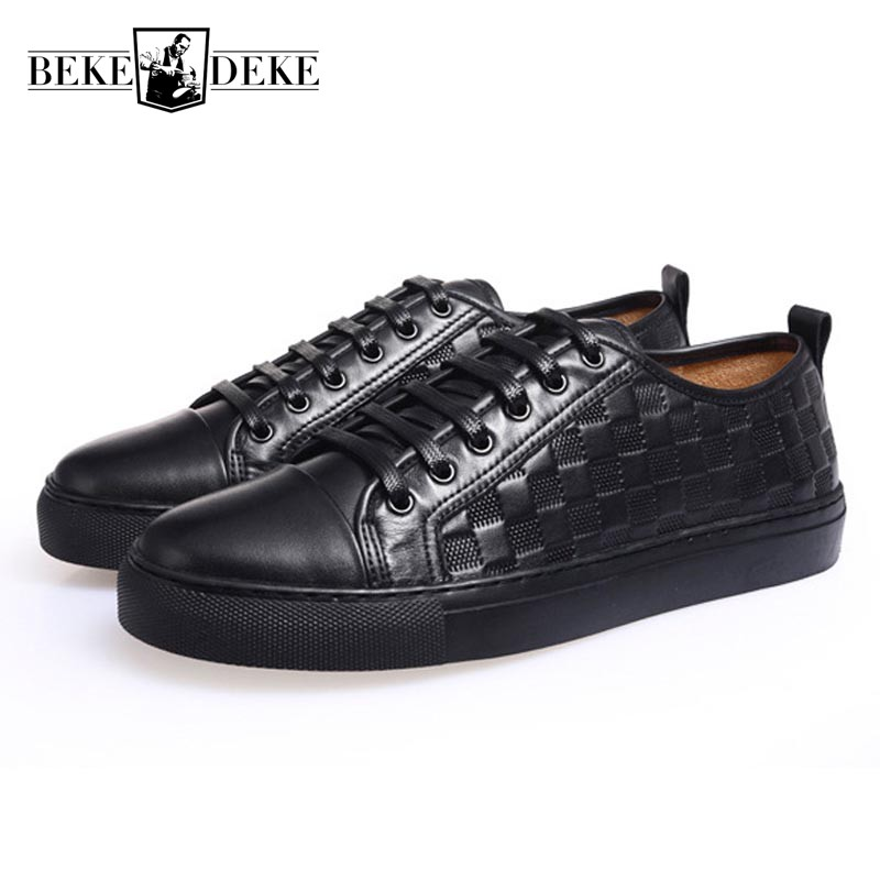 2018 Spring New Casual Shoes Men Retro Punk Plaid Footwear Top Brand Genuine Leather Male Flats Lace Up Round Toe Black White 2017 new flats men shoes zip round toe leather men loafers shoes fashion brand outdoor shoes casual sapatos masculino