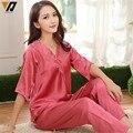 Media manga mujeres pijama de seda establece mujer traje de pijama de encaje bordado ropa de dormir de seda del satén ropa de dormir