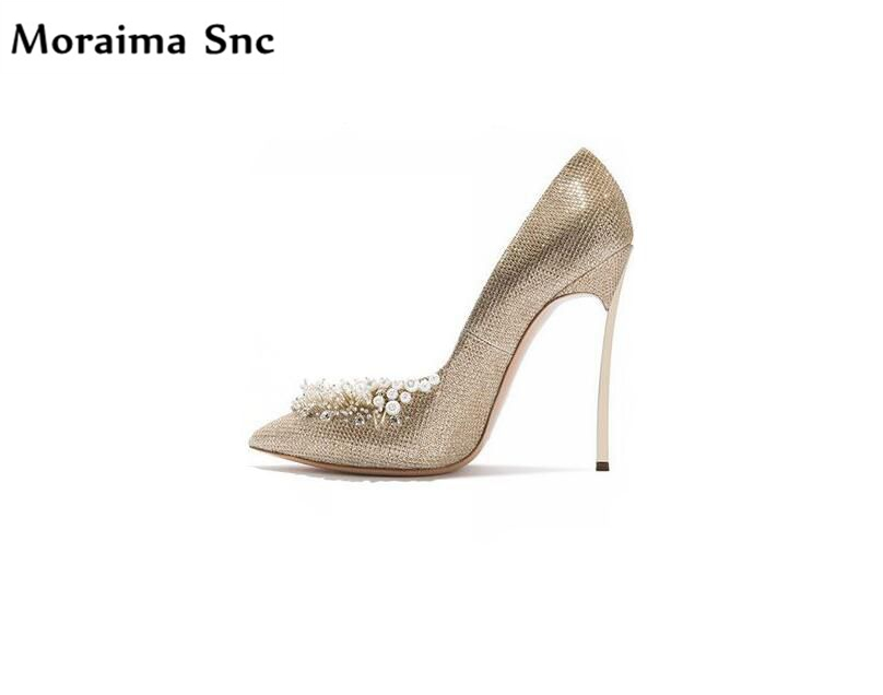 Moraima Snc hot selling chic women wedding shoes thin high heel platform shallow bling crystal Decoration slip-on concise type luxury hot selling golden color heel with bling bling crystal clock decoration pumps glossy patent leather chunky heel shoes