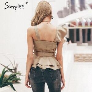 Image 3 - Simplee Sexy one shoulder irregular women camis tops Summer ruffle sashes khaki silk tanks blusas Elegant party female camisoles