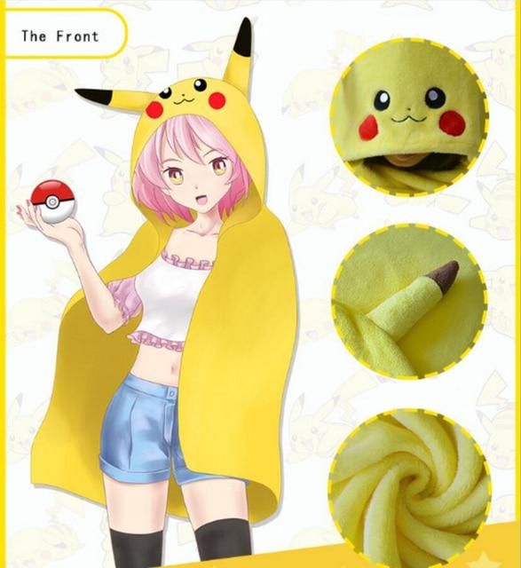 Bonito pikachu cosplay roupas manto casaco de Flanela Anime Dos Desenhos Animados Casa otaku menina brinquedos de pelúcia Duas dimensões para o amigo dom boneca