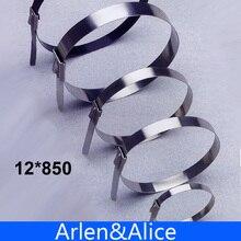100 шт 12 мм x 850 мм из нержавеющей стали застежка-молния самоблокирующиеся кабельные стяжки 12*850
