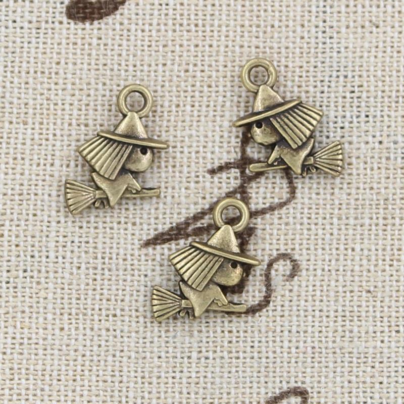 30pcs Charms witch riding broomstick 16*12mm handmade Craft pendant making fit,Vintage Tibetan Bronze,DIY for bracelet necklace