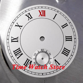 38.9mm white sterial dial fit ETA 6498 hand winding movement Watch dial Roman numerals D11