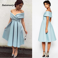 Blue Off The Shoulder Prom Dress Ruffles Satin Tea Length Evening Gowns With Pockets Elegant Party Dresses Mid Calf Length