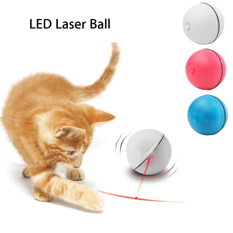 Funny Pet Cat Dog Red LED Light Laser Ball Kitten Teaser Exercise Automatic Interactive Toys for Cats Pet Products Scroll Balls