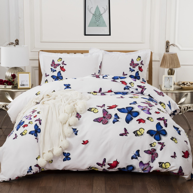 3D Butterfly Quilt Cover Duvet Covers Animal Soft Doona Cover Pillow Cases 3 Pieces AU Queen King UK Double Size Bedding Set