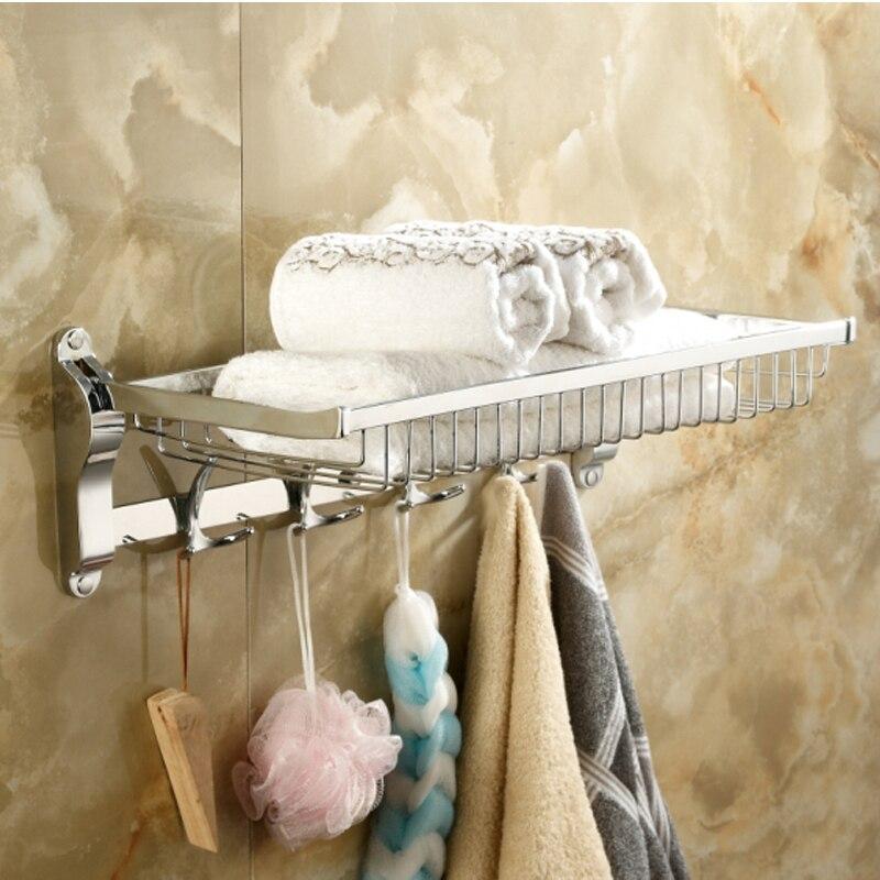 eadea0bbd عالية الجودة 304 المقاوم للصدأ سلة منشفة رف الحمام منشفة رف في رفوف الحمام  مساحة كبيرة مع بار هوك