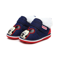 Disney Winter Newborn Baby Boys Warm First Walker Shoes Infants Antislip Boots Kids Girls Minnie Mickey