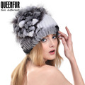 QUEENFUR 100% Real Rex Rabbit Fur Hat With Fox Fur Flower Top Pom Poms Beanies 2016 New Good Quality Real Knitted Fur Women Cap