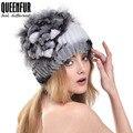 Queenfur 100% настоящее rex-кролика Hat с лисицы цветок топ пом англичане шапочки 2016 новый высокое качество реального трикотажные женщины Cap