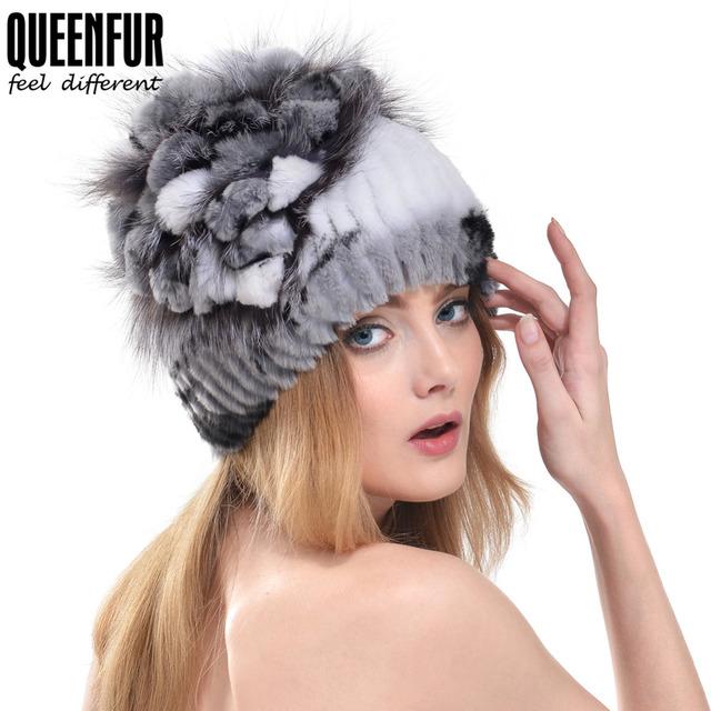 Queenfur 100% Real Rex pele de coelho chapéu de pele de raposa flor de Pom Poms gorros 2016 de boa qualidade de malha mulheres Cap