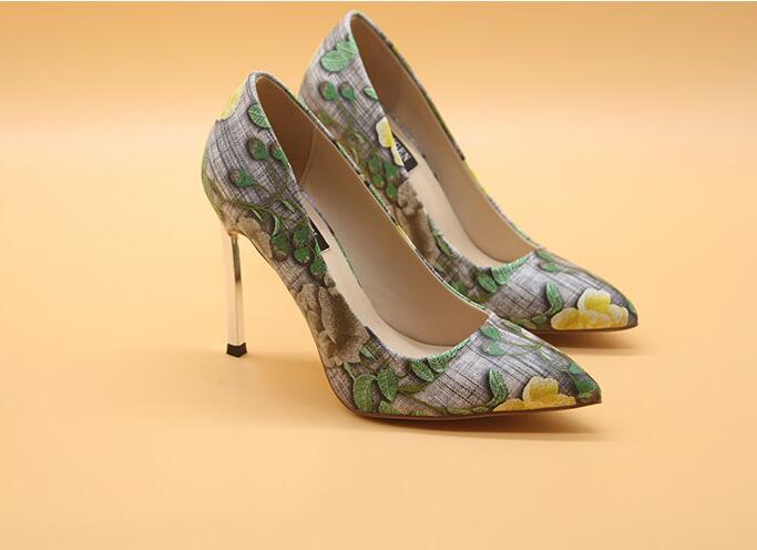 Hot Selling Flower Print Leather Pumps Women Shoes Pointed Toe Metal Blade Heels High Heels Pumps 10CM Colorful Slip on Pumps in Women 39 s Pumps from Shoes