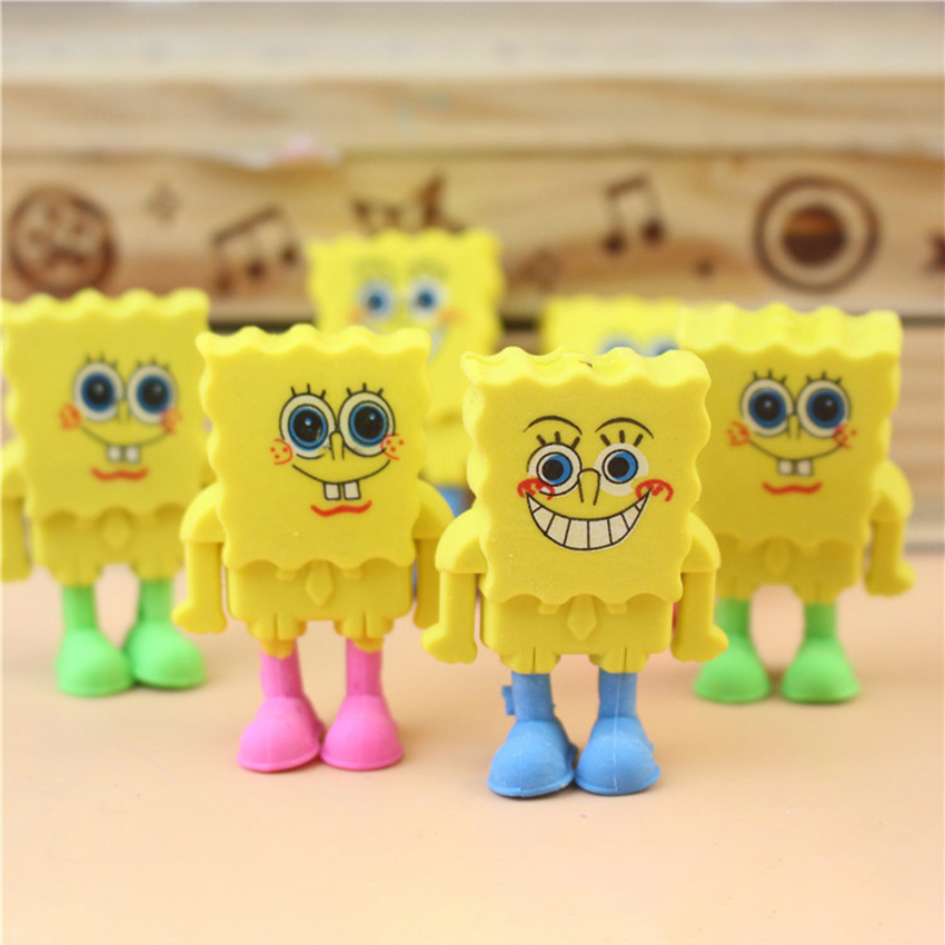 Cute Cartoon SpongeBob Shape Eraser Student Kawaii Stationery School Office Supplies Kids Rubber Erasers Gift Prize